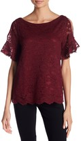 Laundry by Shelli Segal Short Flutter Sleeve Lace Top
