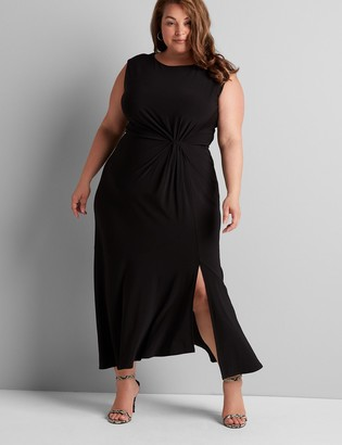 Lane Bryant Sleeveless Midi Dress With Ruched Waist