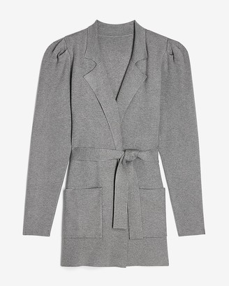Express Collared Belted Puff Sleeve Sweater Jacket