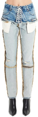 Unravel Project Destroyed Effect Lace-Up Jeans