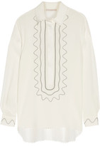 Christopher Kane Embroidered Silk Crepe De Chine Blouse