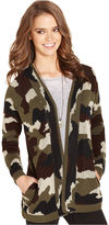 Say What Juniors Sweater, Long Sleeve Camouflage-Print Cardigan
