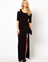 Love Maxi Dress With Cold Shoulder and Thigh Split
