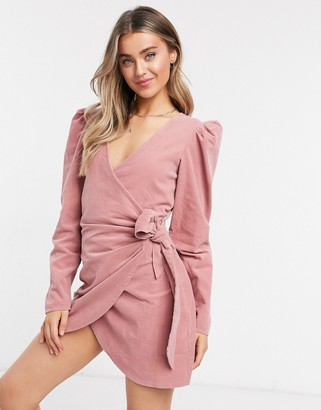 ASOS DESIGN cord mini wrap dress with long sleeves in pink