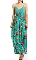 Jessica Simpson Paley Bird Printed Crochet Open Back Maxi Dress