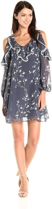 Taylor Dresses Women's Chiffon Cold Shoulder Dress with Ruffle at Bodice