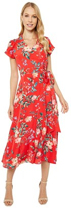 Vince Camuto Printed Crepe De Chine Midi with Novelty Raglan Sleeve (Red Multi) Women's Clothing