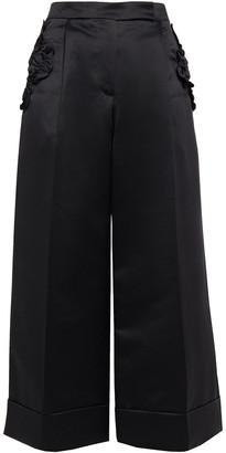Simone Rocha Cropped Ruffled Satin-crepe Wide-leg Pants