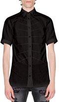 Alexander McQueen Rib Cage Velvet Short-Sleeve Shirt, Black