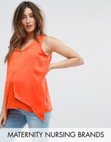 Mama Licious Mama.licious Mamalicious Nursing Drape Front Woven Top
