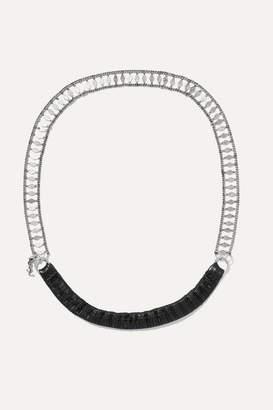 Saint Laurent Silver-tone And Leather Headband