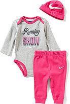 Nike Baby Girls Newborn-12 Months Running The Show Long-Sleeve Bodysuit, Solid Pants & Hat Set