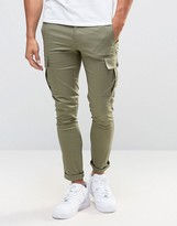 Asos Super Skinny Cargo Pants In Light Khaki
