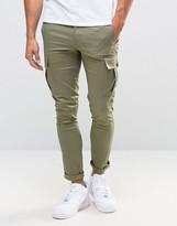 Asos Super Skinny Cargo Trousers In Light Khaki