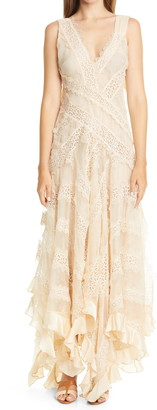 Zimmermann Charm Star Lace & Ruffle Trim Silk Dress