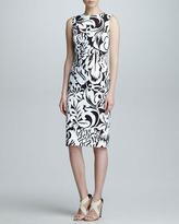 Carolina Herrera Floral Twill Sheath Dress, Black/White