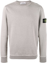 Stone Island Grey Crewneck Logo Patch Sweatshirt - men - Cotton - M