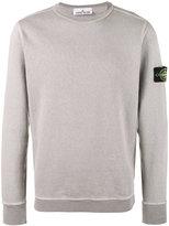 Stone Island Grey Crewneck Logo Patch Sweatshirt - men - Cotton - S