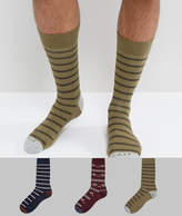 Abercrombie & Fitch 3 Pack Socks Moose Logo In Navy/olive Stripe & Burgundy Pattern