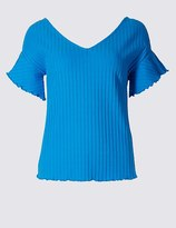 Marks and Spencer Cotton Rich Ribbed Frill Sleeve T-Shirt
