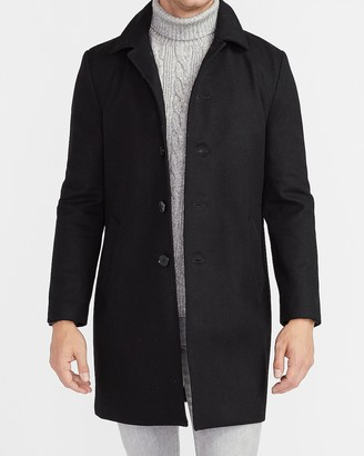Express Black Water-Resistant Wool-Blend Trench Coat