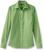 Classic Women's Plus Size Long Sleeve No Iron Pinpoint Shirt-Khaki
