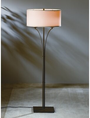 """Hubbardton Forge Formae 58.1"""" Floor Lamp Finish: Translucent Mahogany, Shade Color: Doeskin Micro-Suede"""