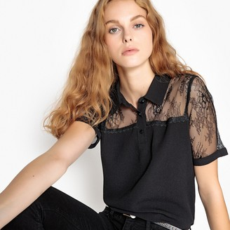 School Rag Blouse with Lace Panel