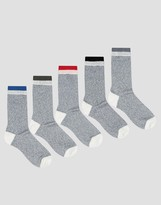 Asos Boot Socks With Contrast Welt 5 Pack
