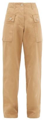 Loewe High-rise Cotton-herringbone Cargo Trousers - Womens - Beige