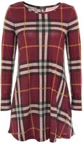 Quiz Burgandy Knit Check Long Sleeve Tunic Dress
