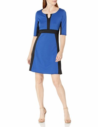 Star Vixen Women's Elbow Sleeve Colorblock Fit N Flare Dress