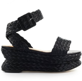 Paloma Barceló Marie Black Raffia Wedge Sandal