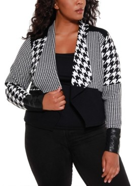 Belldini Black Label Women's Plus Size Multi Houndstooth Cropped Sweater Blazer