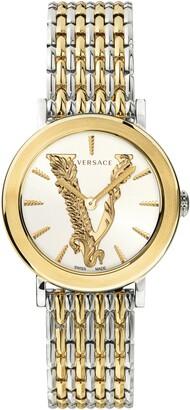 Versace Virtus Leather Strap Watch, 36mm