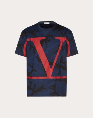 Valentino Camouflage T-shirt With Vlogo Signature Man Navy/ Red 100% Cotone XS