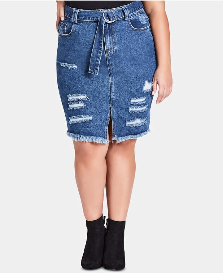 Trendy Plus Size Cotton Ripped Denim Skirt