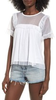 Leith Women's Mesh Ruffle Sleeve Top
