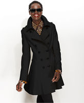 Coat, Double-Breasted Wool-Blend Flared Military