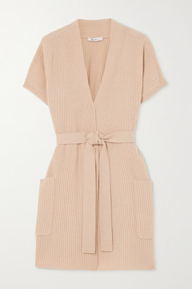 Max Mara Belted Ribbed Wool And Cashmere-blend Cardigan - Beige