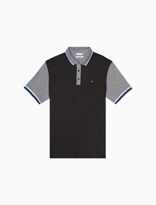 Calvin Klein Liquid Touch Slim Fit Colorblock Tipped Polo Shirt