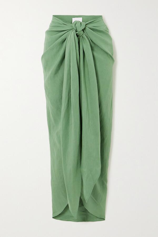 Thumbnail for your product : BONDI BORN + Net Sustain X Lg Electronics Tie-front Linen Midi Skirt