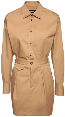 DSQUARED2 Cinch Stretch Cotton Twill Shirt Dress