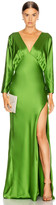 Mason by Michelle Mason Dolman Sleeve Gown in Clover | FWRD