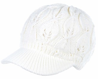 Be Your Own Style BYOS Womens Winter Chic Cable Warm Fleece Lined Crochet Knit Hat W/Visor Newsboy Cabbie Cap - White - One Size