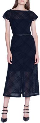 Akris Checkered Lace Boat-Neck Dress