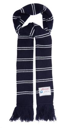 Marni Logo-label Striped Wool-blend Scarf - Navy