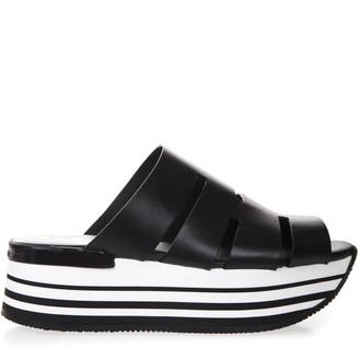 Hogan Maxi H294 Black Leather Sandals