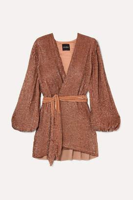 retrofete Gabrielle Velvet-trimmed Sequined Chiffon Mini Wrap Dress - Bronze
