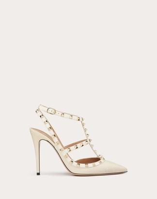 Valentino Garavani Rockstud Grainy Calfskin Ankle Strap Pump 100 Mm Women Light Ivory Calfskin 100% 40.5